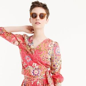 J. Crew Cotton Wrap Top in Paisley